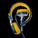 Optimum Retro Headphones with Travel Case and Airplane Adapter(Dark blue/Yellow)